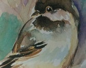 Original bird Art Card ACEO bird Chicadee watercolor painting decor New hand made atc by Mary Vargas