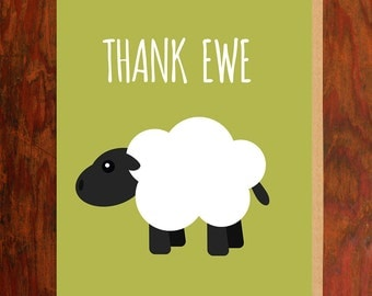 Thank Ewe Note Card - Blank Inside