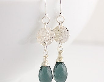 Smoke Gray Quartz and Hammered Sterling Disc Earrings