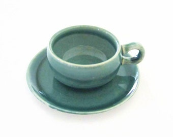 Russel Wright Seafoam Green American Modern Demitasse Cup and Saucer