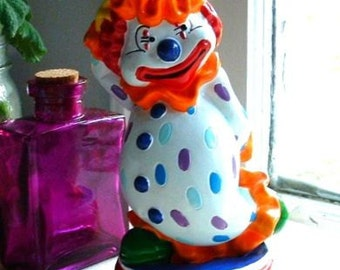 1970's Carnival HAPPY Clown Piggy Coin Bank Hard Plastic with Original stopper - Bright Colors NICE