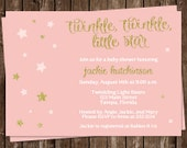 Baby Shower Invitations, Baby Girl, Pink, Gold, Stars, Set of 10 Printed Cards, FREE Shipping, TWKGG, Twinkle Twinkle Glitter and Gold