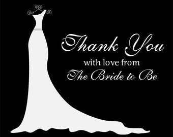 Bridal Shower Thank You Cards, Black and White, Gown, Dress, Wedding, Set of 24 Folding Notes, FREE Shipping, SIGOB, Simple Gown Black