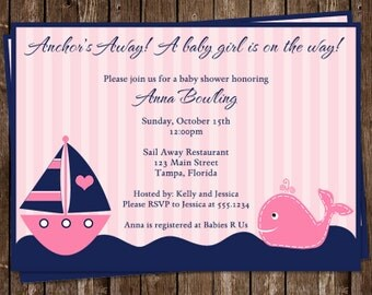 Nautical, Baby Shower Invitations, Girls, Whale, Pink, Sailboat, Anchors Away, Ahoy, Stripes, 10 Printed Invites, FREE Shipping, Customized