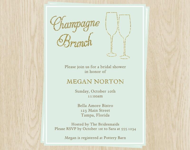 Champagne brunch invitations bridal wedding shower mint for Champagne brunch bridal shower