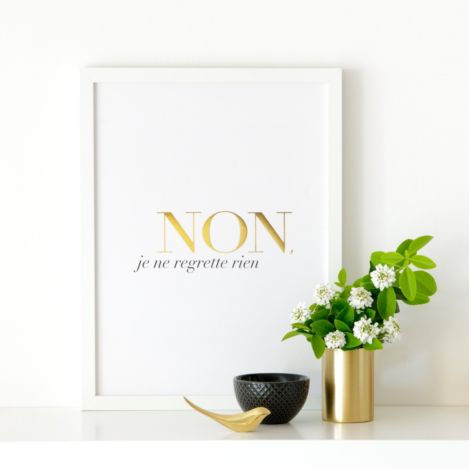 French Tattoo Je Ne Regrette Rien No Regrets: Non Je Ne Regrette Rien White Gold Foil By Sarahandbendrix
