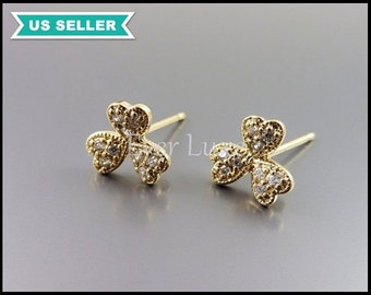 2 Fancy CZ Cubic Zirconia pave lucky 3-leaf clover earrings, crystal earring components / jewelry supplies 1723-BG (bright gold, 2 pieces)