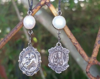 Vintage Upcycled Religious Medals Assemblage Earrings with Freshwater pearls Connectors, ooak,Repurposed