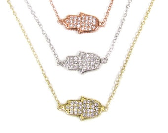 CZ Sideways Hamsa Hand Necklace-- Celebrity Inspired