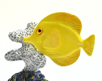 Fish Wood Carving Adult Birthday Gift Wife Birthday Woodworking Animal Sculpture Yellow Tang