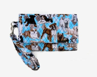 Dog Print Cushioned Cell Phone Wallet - Trifold Cell Phone Wristlet - iPhone Wallet - Smartphone Wristlet - Phone Clutch