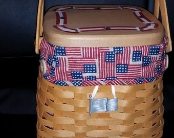 Proudly American Tiny Tote Purse Basket Liner --New Cond--HARD Find