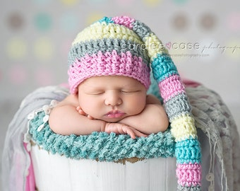 NEW ITEM! Elf Hat in Pink, Silver, Aqua, and Pale Yellow