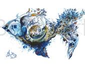 Goldfish in Blue, Blue fish, fish art print, art print, fish wall art, hand drawing, BalletArt, kids room prints, children wall art, animal