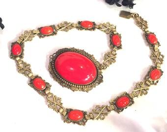 SALE Art Deco Ornate Red Czech Glass Vintage Necklace
