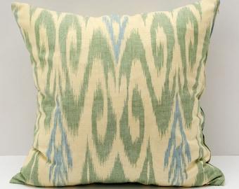 15x15 khaki cream cotton ikat pillow cover, cotton ikat, cotton pillow, khaki, sofa pillow, accent pillow, cushion case, uzbek ikat