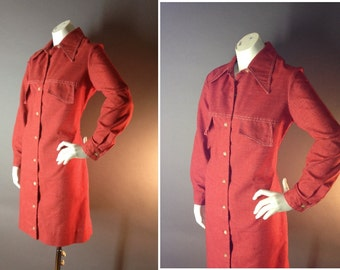 60s dress 1960s vintage RED CHAMBRAY COTTON mod button new old stock nos shirt dress