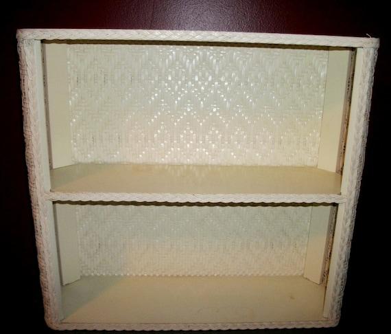 Wicker Wall Shelf Bathroom: Vintage White Wicker Rattan Bathroom Shelf