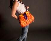 Orange Crossbody bag, Orange Fur Bag, Orange Purple Purse, Large Hobo Bag, fur Slouch Bag, Cute Shoulder Bag, CarolJoyFashions78