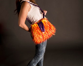 Slouch hobo bag / gift for teen / Fur Bag / Orange yellow purse / large hobo bag / boho style bag / grunge / crossbody bag / Item CJF78-1001