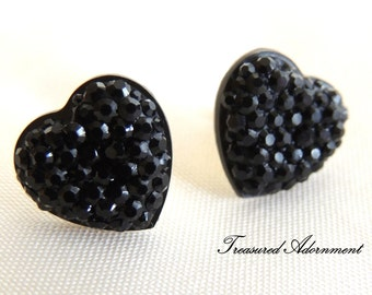 Heart Stud Earrings, Pave Style Resin Rhinestone Heart Earrings, Black Heart, Thank you gift, Gift Under 10, Gift for mom