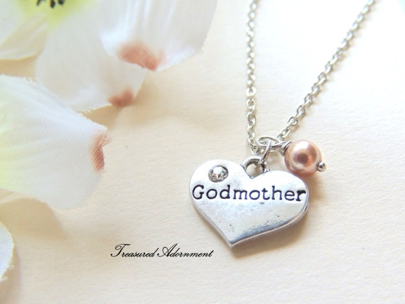 READY To SHIP Godmother Necklace Heart Necklace With Rose