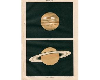 1889 SATRUN & JUPITER planet print antique original astronomy celestial lithograph