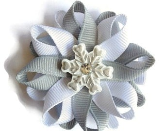 White & Silver Snowflake Hair Bows