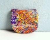 Purple Orange  Mini Zip Pouch, Coin Purse Wallet, Credit Card Holder, Small gift idea