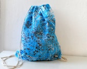 HandMarbled Blue Backpack, cotton tote, beach bag, gym bag , bike bag, unisex gift