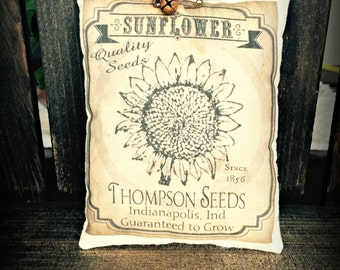 Primitive Sunflower Seed Packet Pillow Tuck
