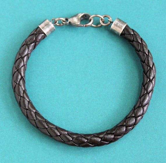 CLEARANCE Mens Brown Nappa Leather Braided Bracelet Sterling Silver Clasp