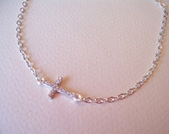 petite sideways cross necklace rhinestone silver small cross gift for her mom gifts