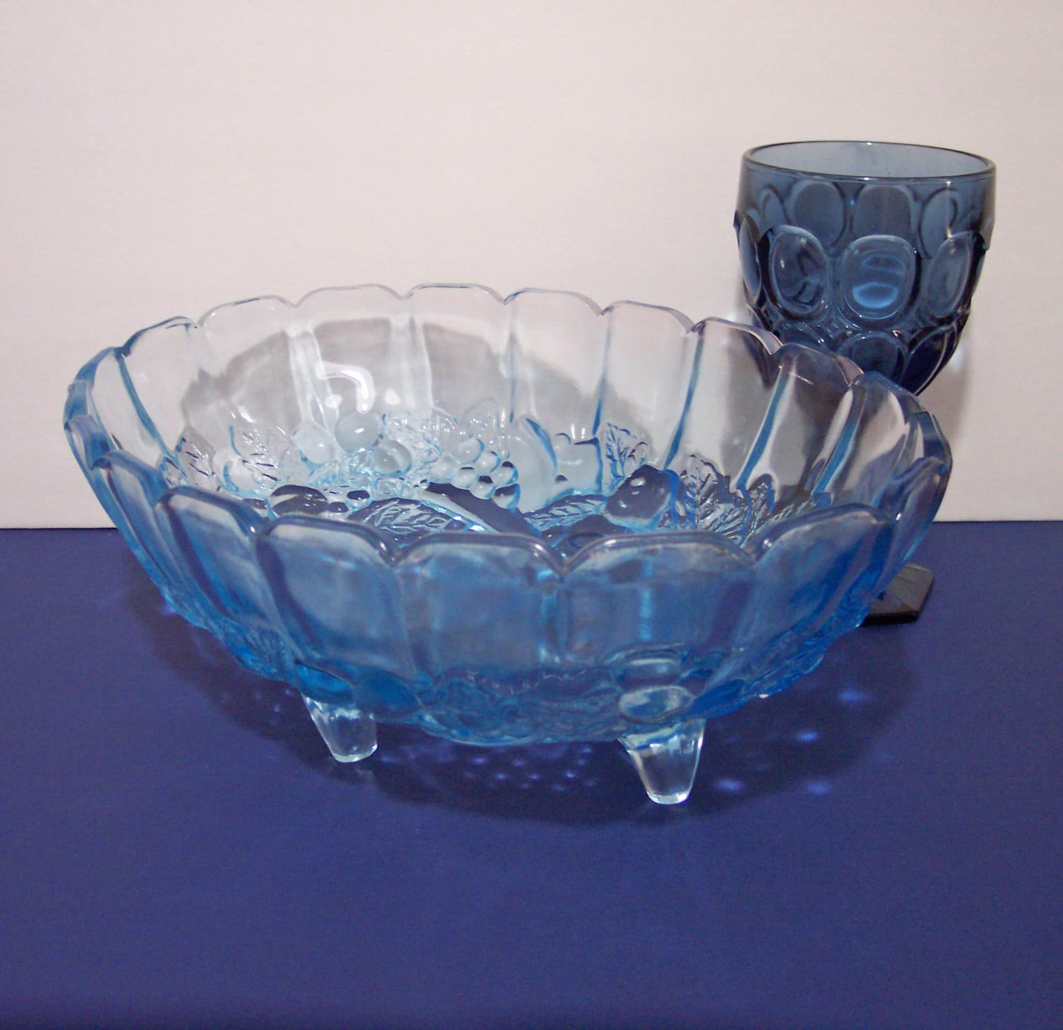 Blue oval centerpiece bowl for flowers fruit candles