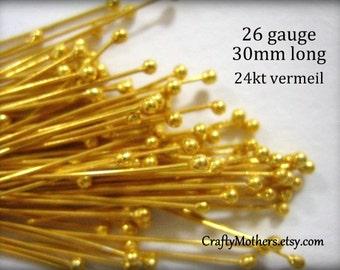 29% SALE! (Code: FROSTY) 100 pieces Bali 24kt Gold Vermeil Ball Headpins, 26 gauge / 30 mm long, Genuine Bali Artisan-made, precious metals