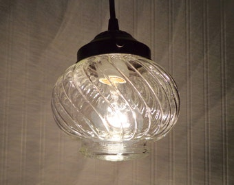 Vintage PENDANT Light With Clear Glass SWIRL Design - Lighting Fixture Ceiling Chandelier Farmhouse Island Kitchen Flush Mount by Lamp Goods