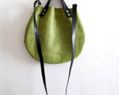 Matt green Leather basket hand bag ,Cross-body Bag, Every day leather bag
