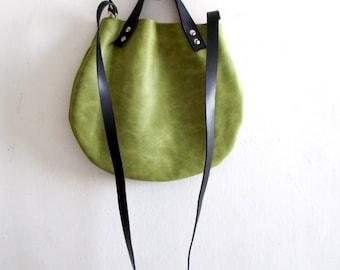Matt green Leather basket hand bag ,Cross-body Bag, Every day leather bag