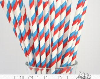 Red & Blue Stripe Paper Straws- Pack of 25 Straws