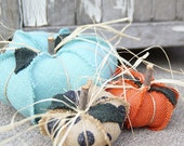 Burlap pumpkin, shabby chic, fabric pumpkins, fall, thanksgiving, polkadot pumpkin, blue pumpkin, orange,