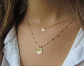 Gold Disc Necklace, Hammered Gold Disc Necklace, Delicate Gold Necklace, Dainty Gold Necklace, Simple Gold Necklace, Disc Necklace
