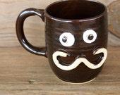 Manly Mustache Ug Chug Mug. Dad's Funny Coffee Cup. Large 16 Ounce Stoneware Pottery Clay Mug.  Dark Chocolate Brown Black.