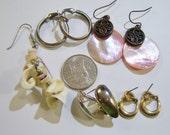 5 five pairs of pierced earrings 14INP23, wear, repurpose, craft, hoop earrings, gold tone, silver tone, dangle