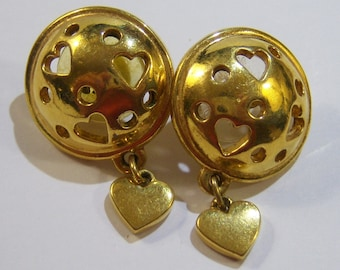vintage gold tone round pierced earrings with dangle heart 14IN