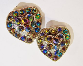 vintage tarnished silver tone with colorful rhinstones heart shaped clip on earrings 0515D