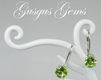 Peridot Leverbacks/Peridot Earrings/Peridot 6mm/Peridot Dangles/Peridot Drops/Peridot Silver/Drop Earrings/Natural Untreated