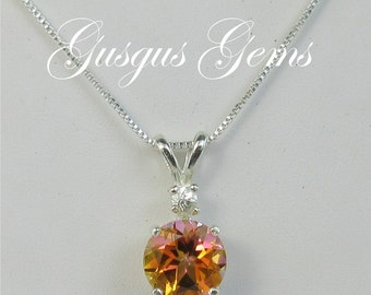 Mystic Topaz Orange Sterling Sliver Necklace 8mm 2.35ct