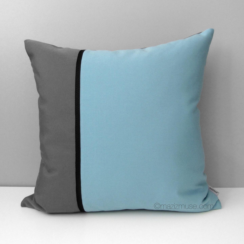 Modern Outdoor Pillow : Mineral Blue & Grey Pillow Cover Modern Outdoor Pillow Cover