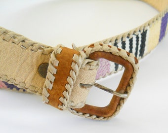 Vintage 1980s Woven and Leather Belt • Blonde Leather Pastel Woven