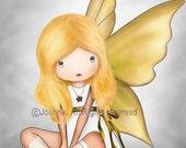 I'll be your guardian angel - kids wall art, girls wall art, art for girls room, nursery wall art, girl nursery decor, drawing, illustration